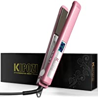 KIPOZI Flat Iron 1 Inch Titanium Plates Professional Hair Straightener with Adjustable Temperature Suitable for All Hair Types Makes Hair Shiny and Silky Heats Up Fast Dual Voltage Rose Pink