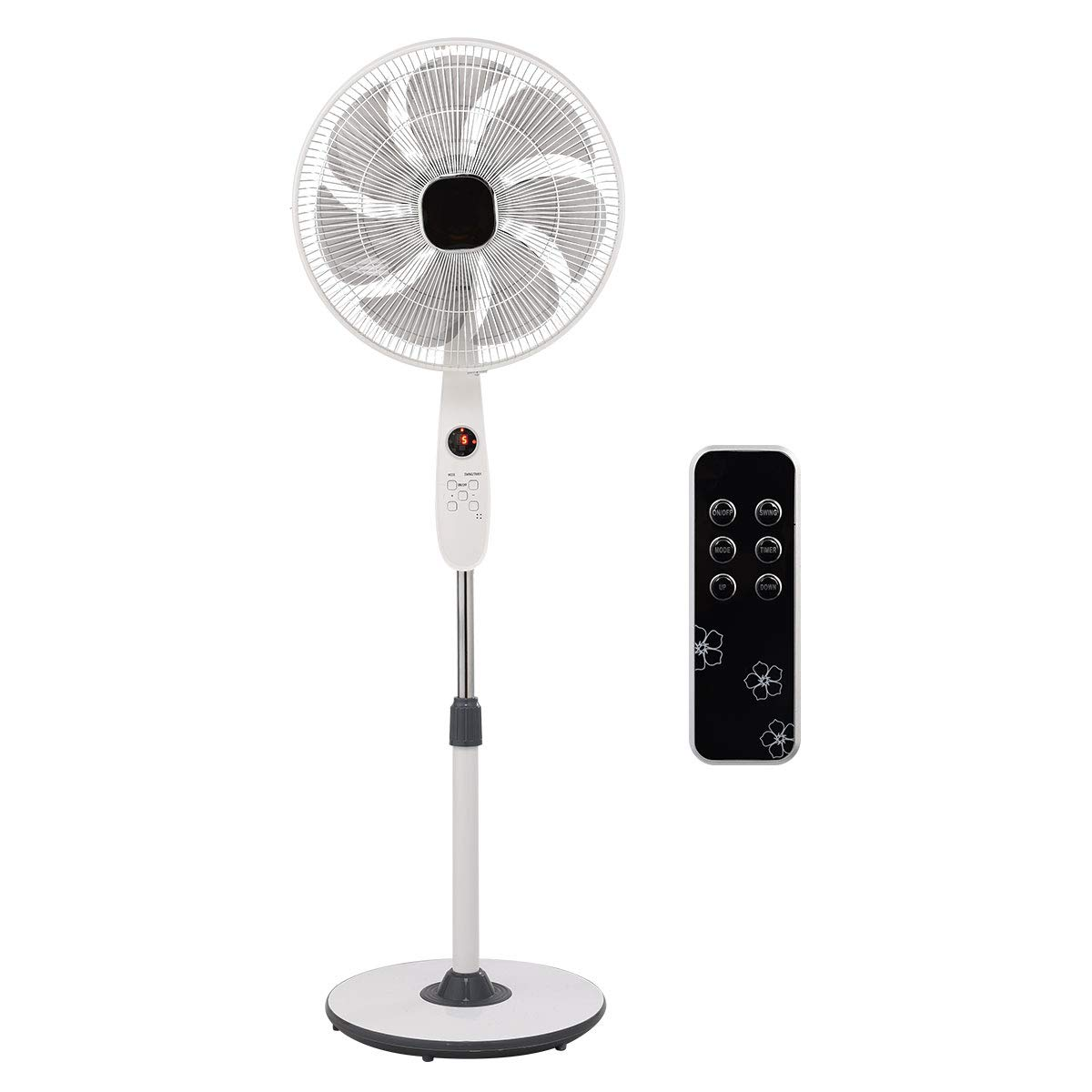 COSTWAY Pedestal Fan Adjustable 15-inch Standing Fan 3-Speed 3 Mode 5 Blades Oscillating Stand Fan with Remote Control for Home and Office White 15