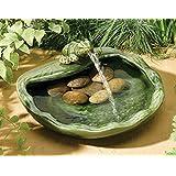 Fontaine solaire grenouille ceramique emaillee verte