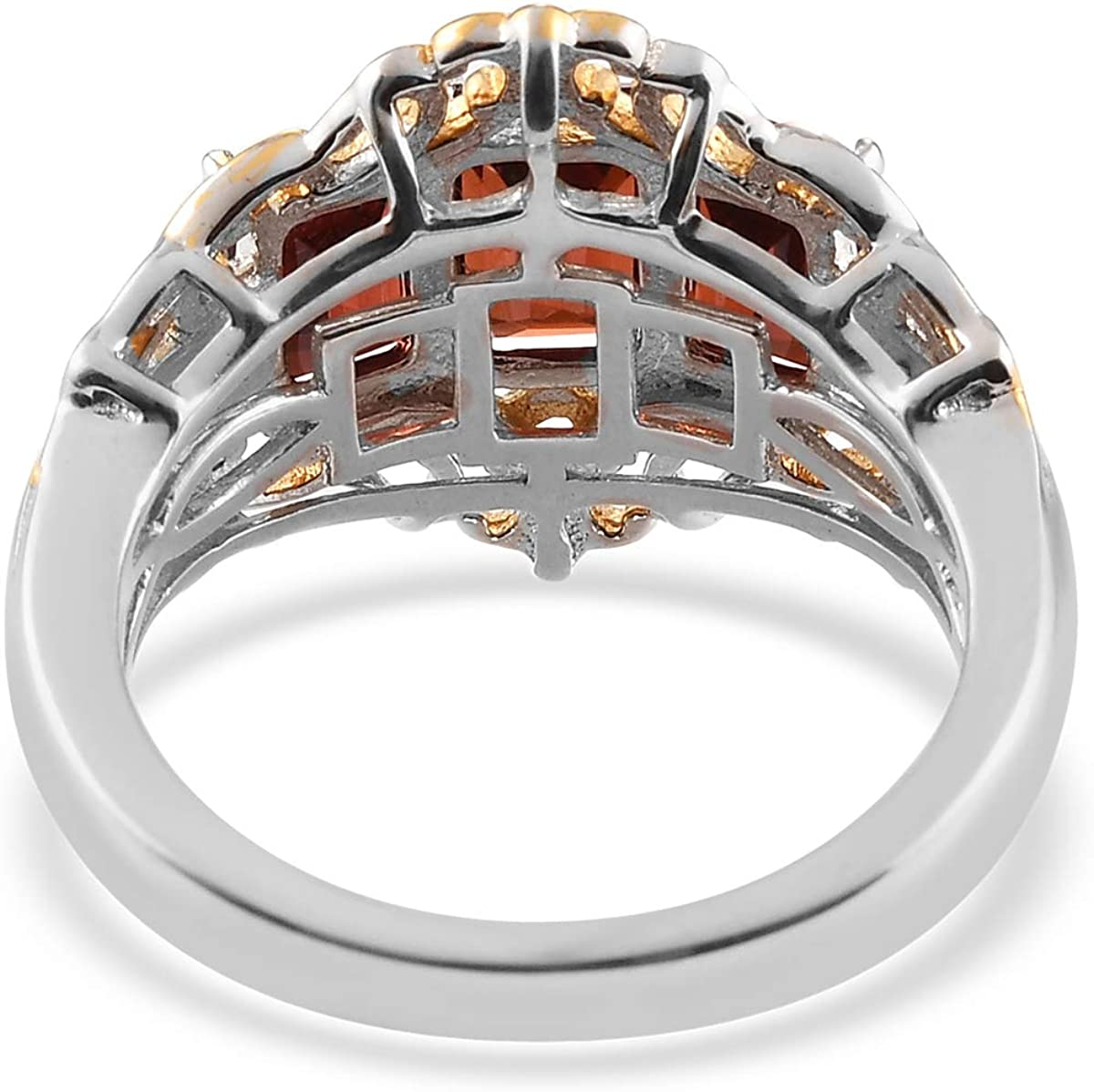925 Sterling Silver Vermeil Yellow Gold Platinum Plated Octagon Garnet Zircon Ring Engagement Wedding Anniversary Bridal Jewelry Valentines Gift For Her Size 6 Ct 2.4