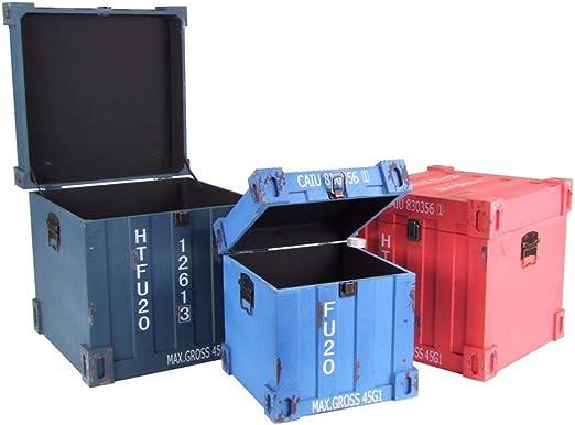 Juego de 3 baúles Shabby Chic Vintage Mercancías Caja Madera Caja Baúl Contenedor Diseño: Amazon.es: Jardín