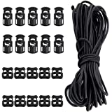 1//4 In x 65 Ft, Blac Bags Shoelaces Clothing YOTINO 50 Pcs Plastic Cord Locks End Spring Toggle Stopper Single Hole String Cord Locks and Elastic Bungee Cord Crafting Stretch String for Drawstrings