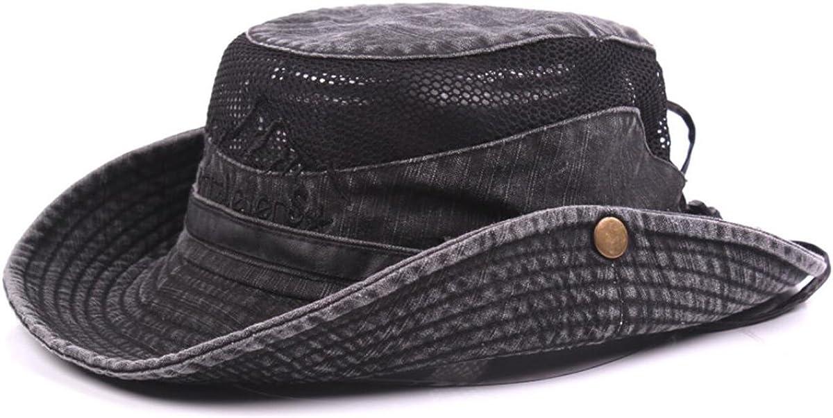 protezione UV da trekking cappello da escursionismo pieghevole in cotone con sottogola cappello da pescatore cappello estivo Charmylo Cappello da sole da uomo