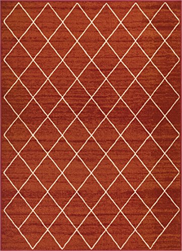 (Well Woven Non-Skid/Slip Rubber Back Antibacterial 5x7 (5' x 7') Diamond Lattice Print Rust Red Thin Low Pile Machine Washable Indoor Outdoor Area Rug )