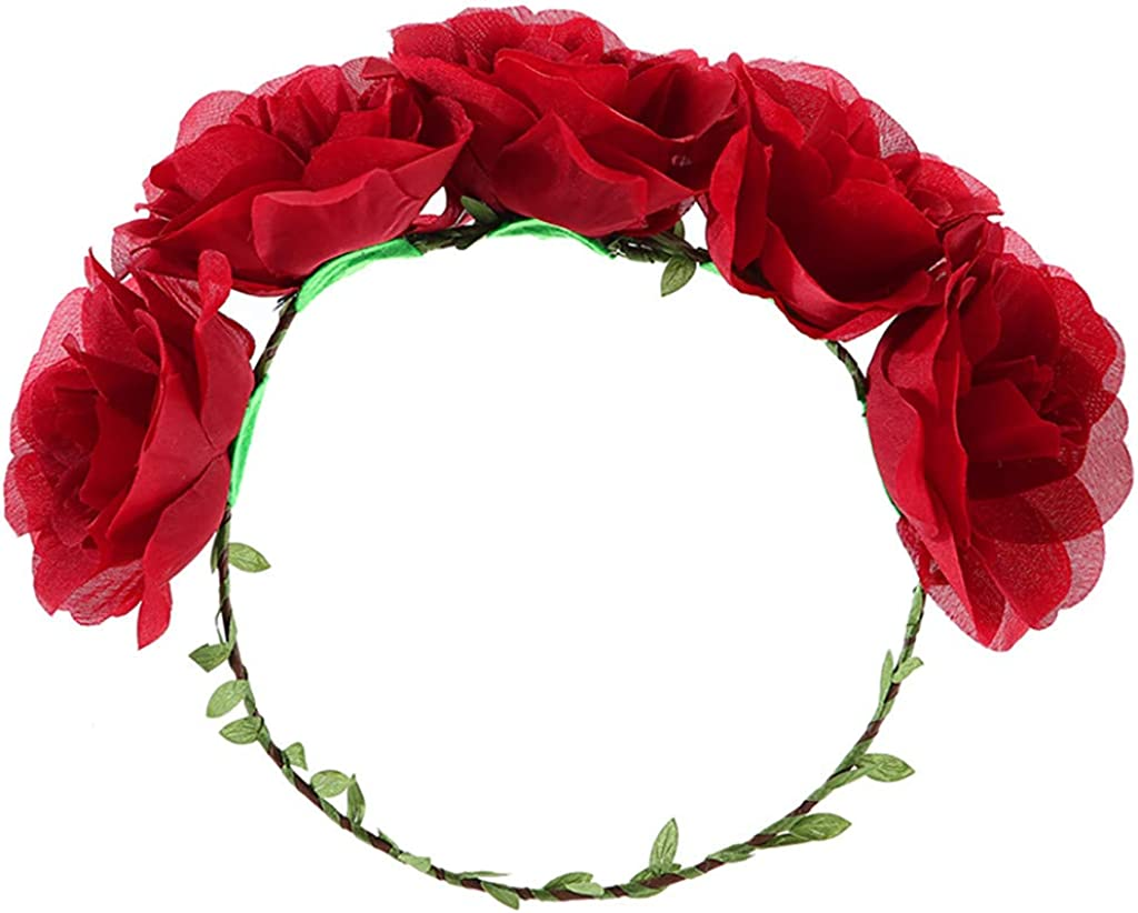 Womens Headband Flower Crown Floral 2019 Festival Wedding Hair Wreath Roses Boho Beach Festival Party