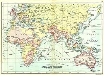 Australia India Map.British Empire Route Chart To India Far East Australia New