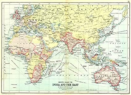 Map Eastern Australia.Amazon Com British Empire Route Chart To India Far East Australia