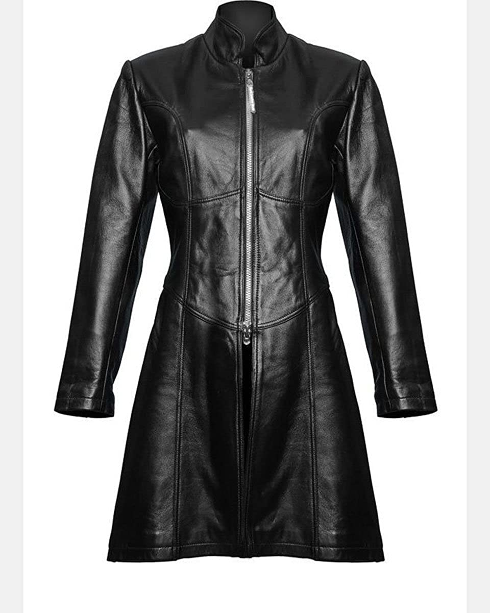 Olly And Ally Ladies Black Leather Steampunk Style Trench Coat