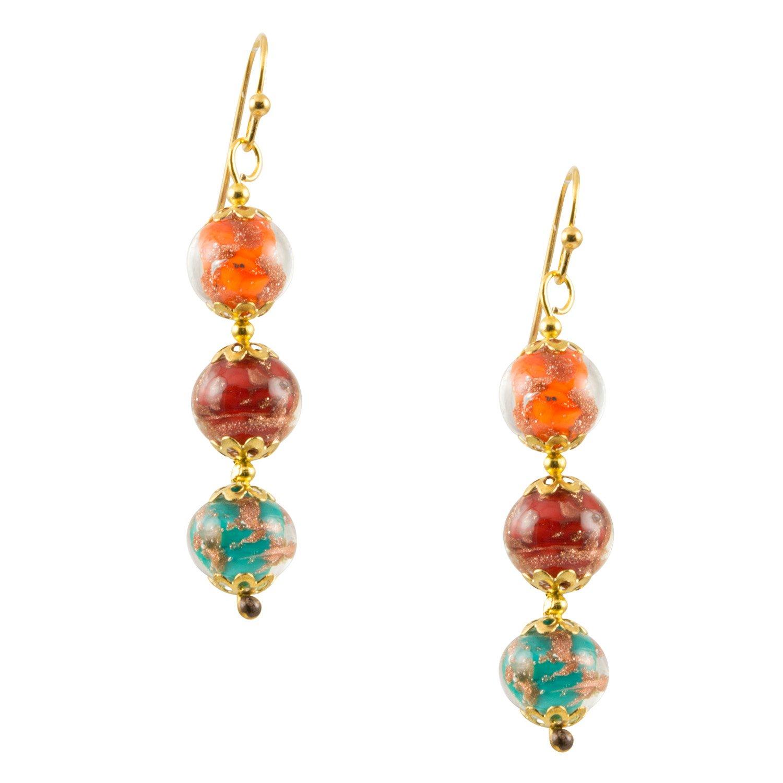 Genuine Venice Murano Sommerso Aventurina Glass Bead Dangle Three Bead Earrings-Multi Color