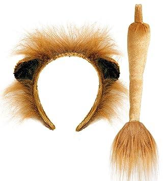 Kostüm Set Löwe mit Haarreifen und Schwanz Löwenohren Tiara Safari Afrika Tier