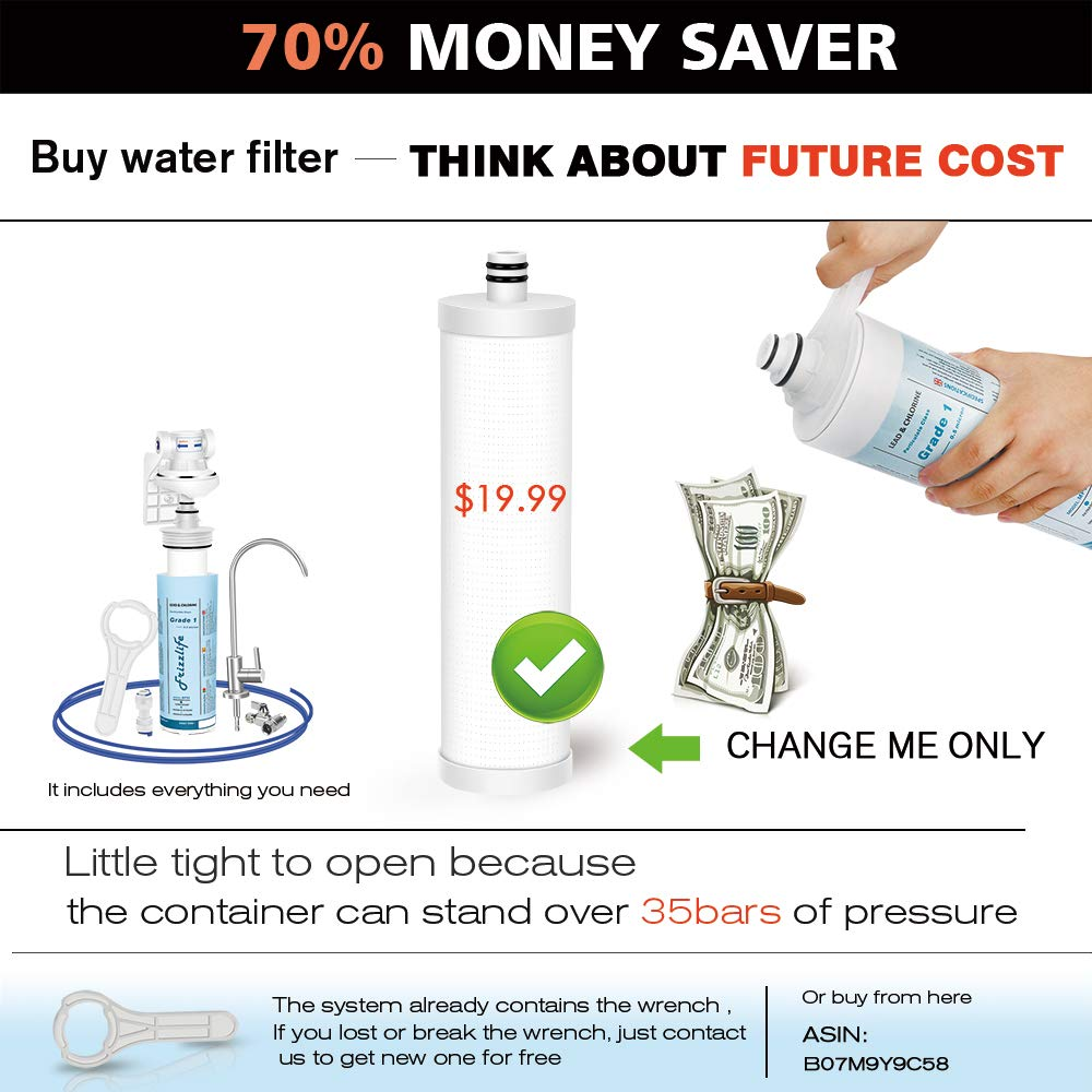 Frizzlife Under Sink Water Filter-Quick Change Under Counter Drinking Water Filtration System-0.5 Micron High Precise Removes 99.99/% Lead Bad Taste /& Odor-With Dedicated Faucet MP99 Chlorine