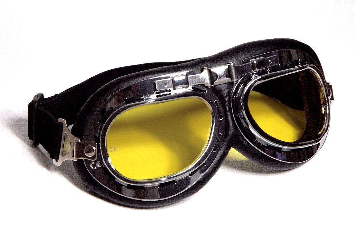 schwarzes ECHT Leder mit klaren Gl/äsern Qubeat Motorradbrille Classic schwarz