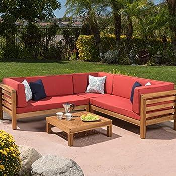 Beckley 4pc outdoor eucalyptus sofa set for Sofa exterior amazon
