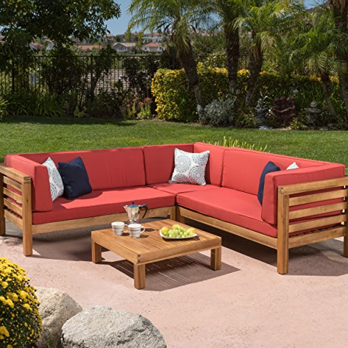 Ravello Outdoor Patio Furniture 4 Piece Wooden Sectional Sofa Set w/ Water Resistant Cushions (Red) by GDF Studio