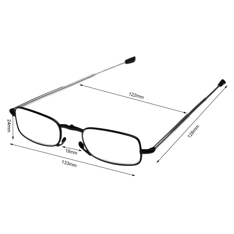 Occhiali da lettura vintage nero Occhiali confortevoli Edition : 1.5 reg; Occhiali da vista in metallo leggero con montatura in metallo per uomo e donna