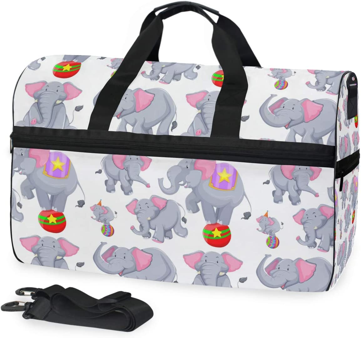 Travel Duffels Circus Elephant Duffle Bag Luggage Sports Gym for Women /& Men