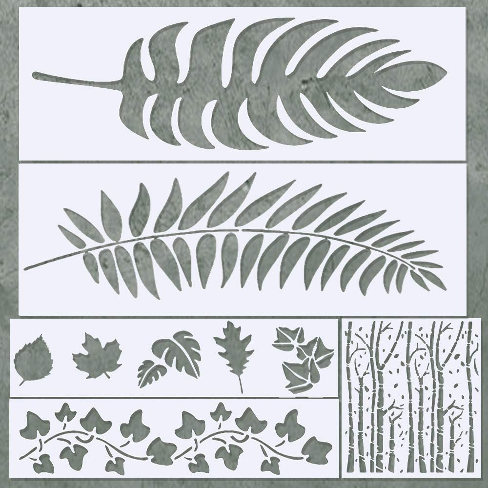 Large Leaf Stencils for Painting on Wood, Canvas - Reusable Paint Stencil Set - Leaf Stencils for Walls, Furniture & Signs - Scrapbooking & Journaling Stencils - Includes Palm Leaf, Aspen Tree Stencil