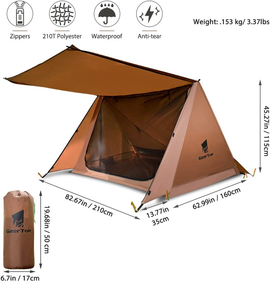 Ideal for Camping Hiking Ultra-Light Bushcraft Shelter 2 Men Tent,Waterproof and Easy Set Up GEERTOP Backpacking Tent