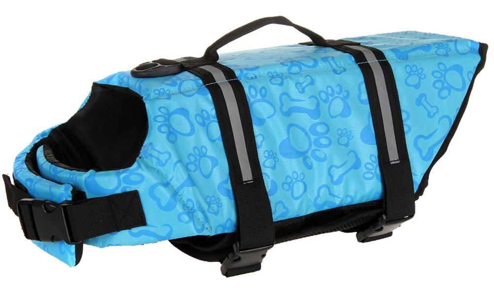 Woo Woo Pets Dog Life Jacket Adjustable Dog Life Preserver Blue Bone M