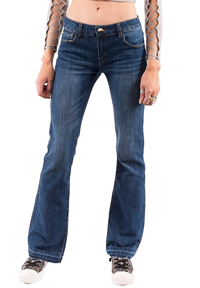 84e2c161025 Cindy H Paris Low Rise Faded Bootcut Jeans with Frayed Leg Ends - Blue  (14): Amazon.co.uk: Clothing