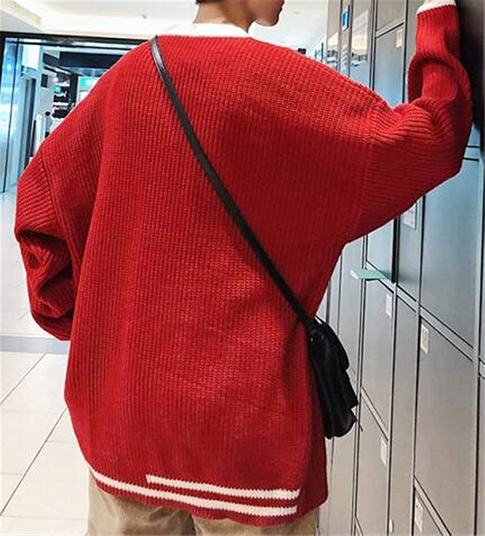 Lutratocro Mens Loose Fit Knit Color Block Crew Neck Pullover Jumper Sweaters