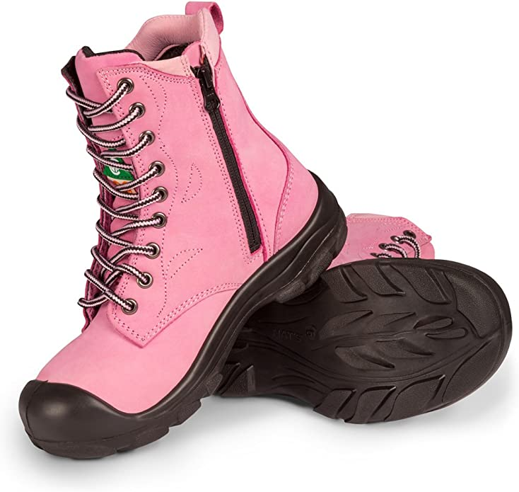 Steel Toe Work Boots | Pink