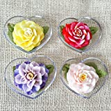Blooming Flower Set of 4 Hand Carved Decorative Soaps with Jasmine Aroma Essential Oil, Handmade Flower Soap Carving by Thai Artisan. Unique Gift and Wedding Favor Ideas in Heart Box