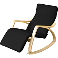 SoBuy Comfortable Relax Rocking Chair with Foot Rest Design, Lounge Chair, Recliners Poly-cotton Fabric Cushion