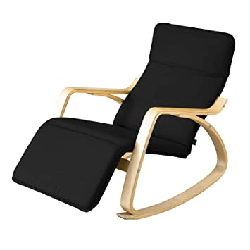 Astonishing Sobuy Relax Chair Rocking Chair Lounge Chair With Black Cushion Adjustable Footrest Fst16 Sch Black Alphanode Cool Chair Designs And Ideas Alphanodeonline