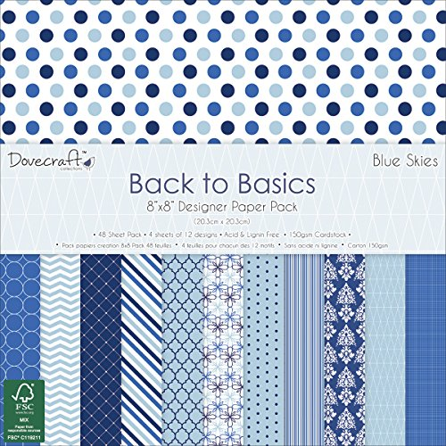 dovecraft-back-to-basics-paper-pack-8x8-48-pkg-blue-skies-12-designs-4-each