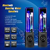 SoundSOUL Bluetooth Dancing Water Speakers LED Speakers Wireless Water Fountain Speakers (Bluetooth 4.0, 4 Colored LED Lights, Dual 3W Speakers, Built-in Rechargeable 1800mAh Battery) (Dark Black)