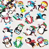 Pegatinas de espuma en forma de pingüino para decorar tarjetas, manualidades y collages navideños infantiles (pack de 120)