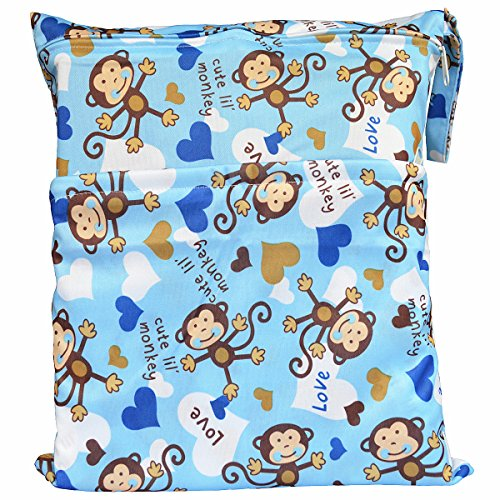 Wet Dry Bag Baby Cloth Diaper Nappy Bag Reusable with Two Zippered Pockets (Blue Monkey)