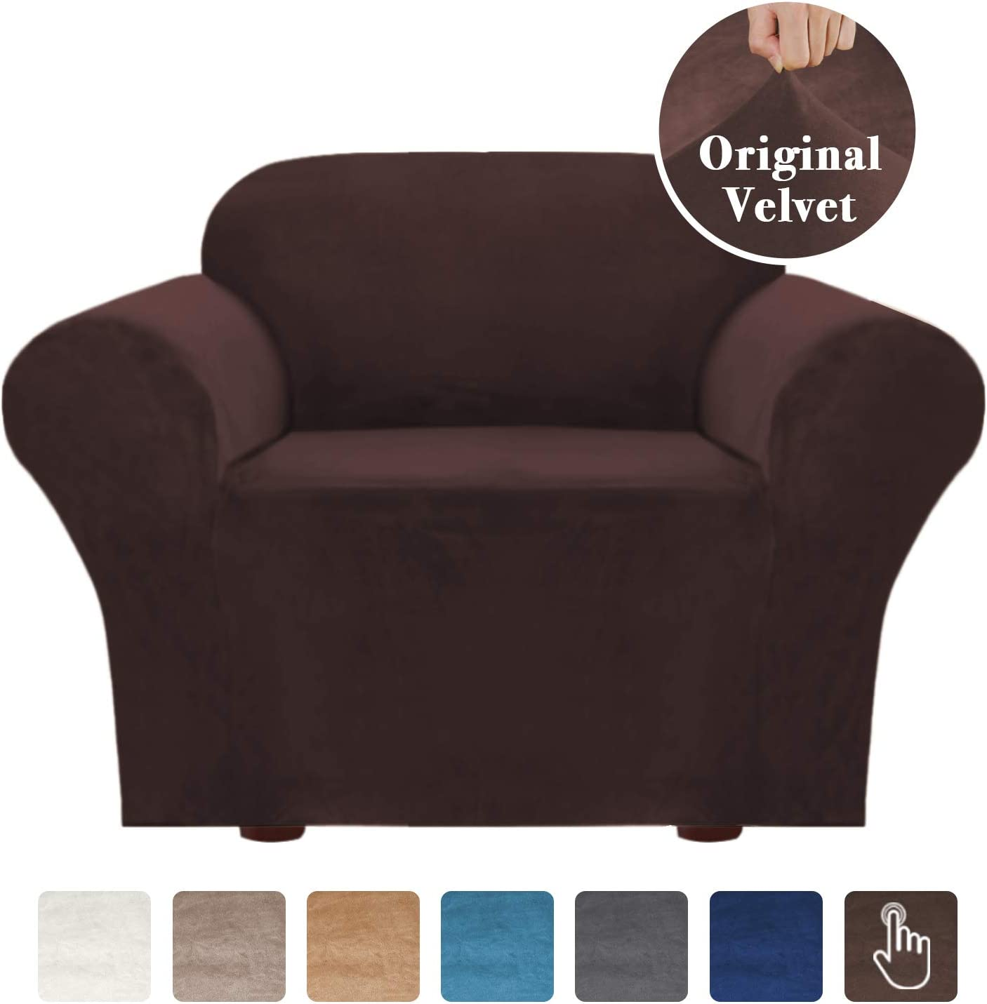 """Velvet Stretch Sofa Cover 1 Cushion Couch Covers Armchair Covers for Living Room Armchair Slipcovers for Chairs, Feature Soft Thick and Non Slip Foam Articles (Chair 32""""-48"""", Brown)"""