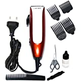 Gemei GM-1011 Professional Hair Clipper with Ergonomically Shaped Body & Powerful Motor, White (Multicolour)