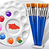 Hulameda 10ps Paint Pallet Trays, Plastic Palette with 10ps Flat Nylon Paint Brushes for Kids
