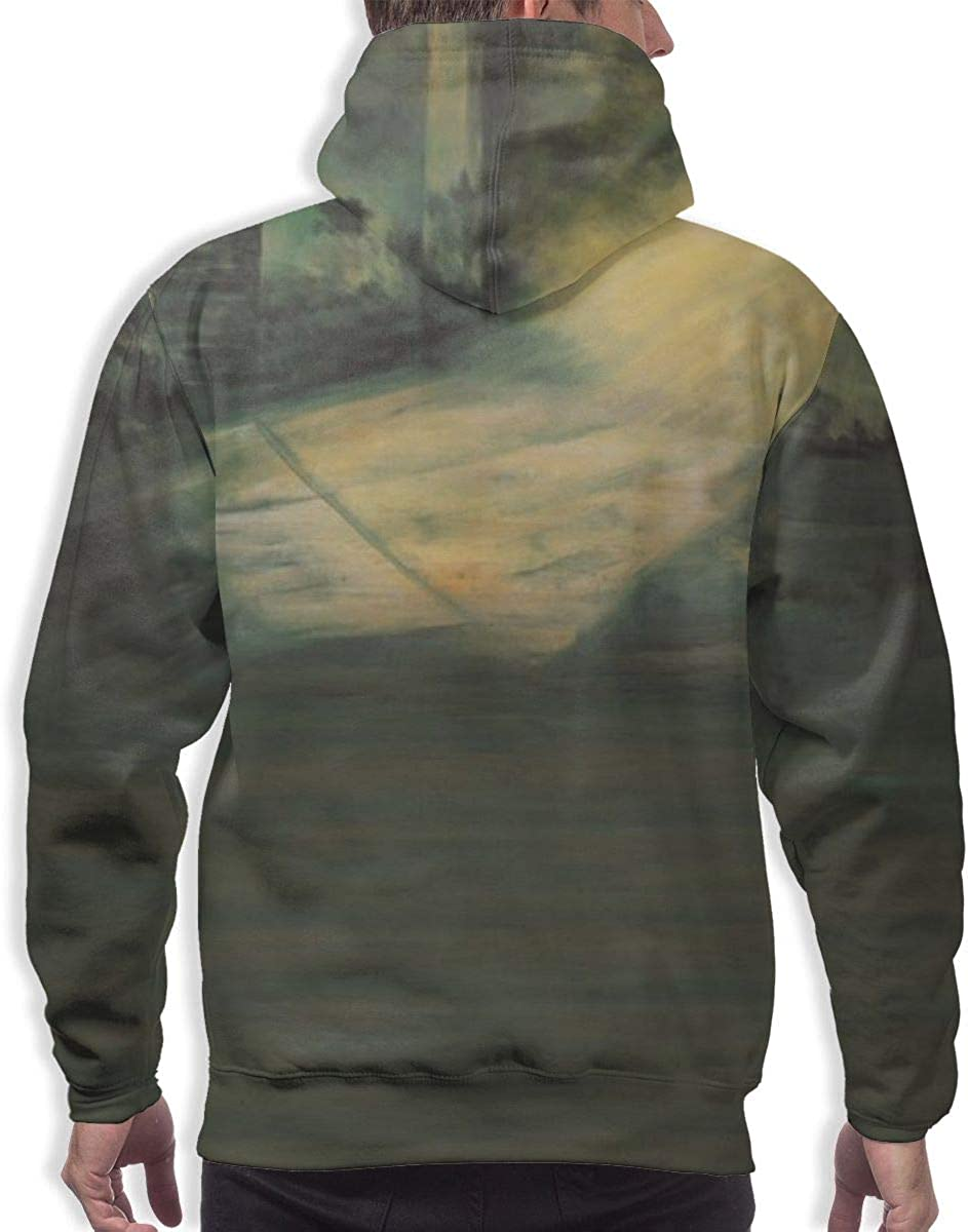 Novelty Beautiful Solid Color Landscape Full Sweater Hoodies Black