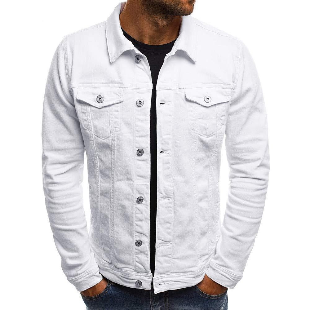 PASATO Men's Autumn Winter Button Solid Color Vintage Denim Jacket Tops Blouse Coat Top Cardigan Outwear(White, 2XL)