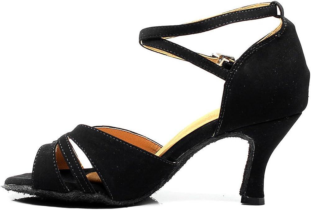 Pierides Womens Peep Toe Sandals Latin Salsa Tango Practice Ballroom Dance Shoes with 2.75 Heel
