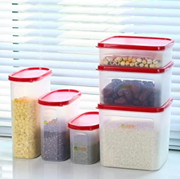 BXH Cajón de plástico, Cacerola de Almacenamiento de Granos de Cocina Humedad Botella sellada Caja