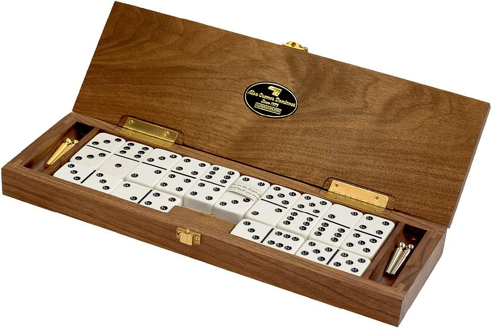 """""""Le Club"""" Luxury Domino Set With Handcrafted Walnut Case and Cribbage / Counter Top - Tournament Quality 28 Indestructible Double-Six Dominoes"""