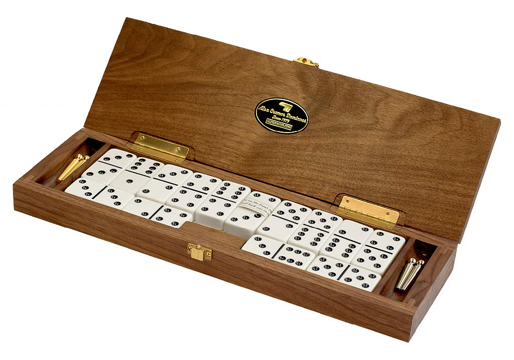 ''Le Club'' Luxury Domino Set With Handcrafted Walnut Case and Cribbage / Counter Top - Tournament Quality 28 Indestructible Double-Six Dominoes