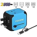 VGUARD Adaptador Enchufe de Viaje Universal Cargador Internacional con MAX 2.4A Dos Puertos USB para US EU UK AU Japon Asia África Más de 150 Países y Seguridad de Fusibles (Azul)