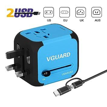 VGUARD Adaptador Enchufe de Viaje Universal Cargador Internacional con MAX 2.4A Dos Puertos USB para US EU UK AU Japon Asia África Más de 150 Países y ...