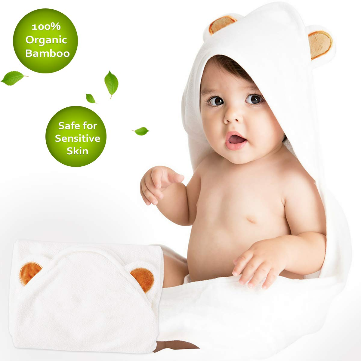 Bath Hooded Towel for Boy Girl 100% Organic Bamboo Ultra Soft and Super Absorbent Toddler Bath Towel with Hood Textile Bath Hooded Towel Great Infant Newborn Shower Present(7575cm) 784237019416