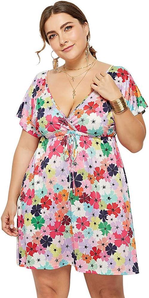 Lover-Beauty Vestiti da Donna Lungo Vestito Estivo con Stampa Floreale Beach Chic Casual a Maniche Corte Holiday Boho Summer Vintage