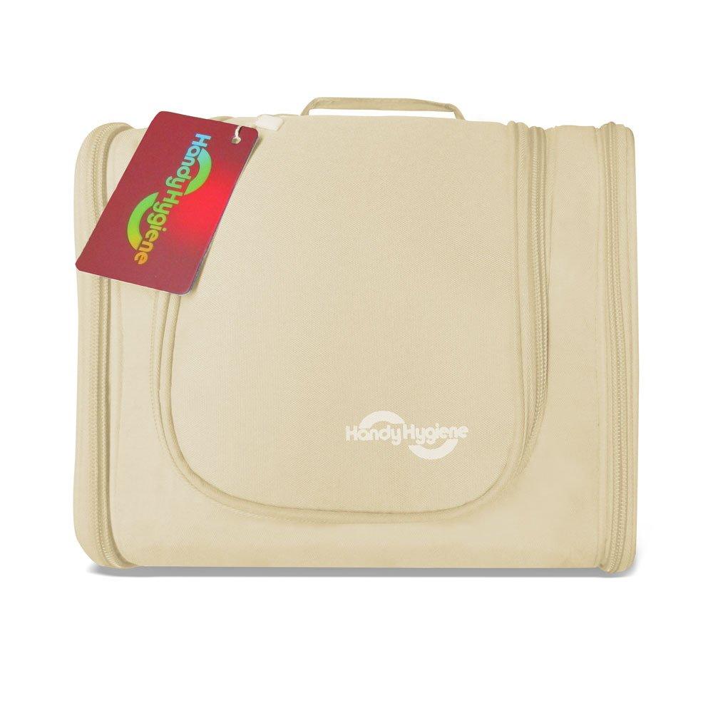 Handy衛生マルチコンパートメントHanging Toiletry Bag、旅行アクセサリーオーガナイザー、化粧品バッグ ベージュ  ベージュ B071GL9SSZ