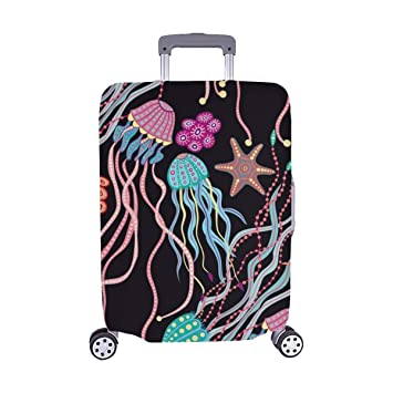 Travel Luggage Cover Hand Drawing Suitcase Protector Baggage Case Dustproof Stretchy Fits 26-28 Inch