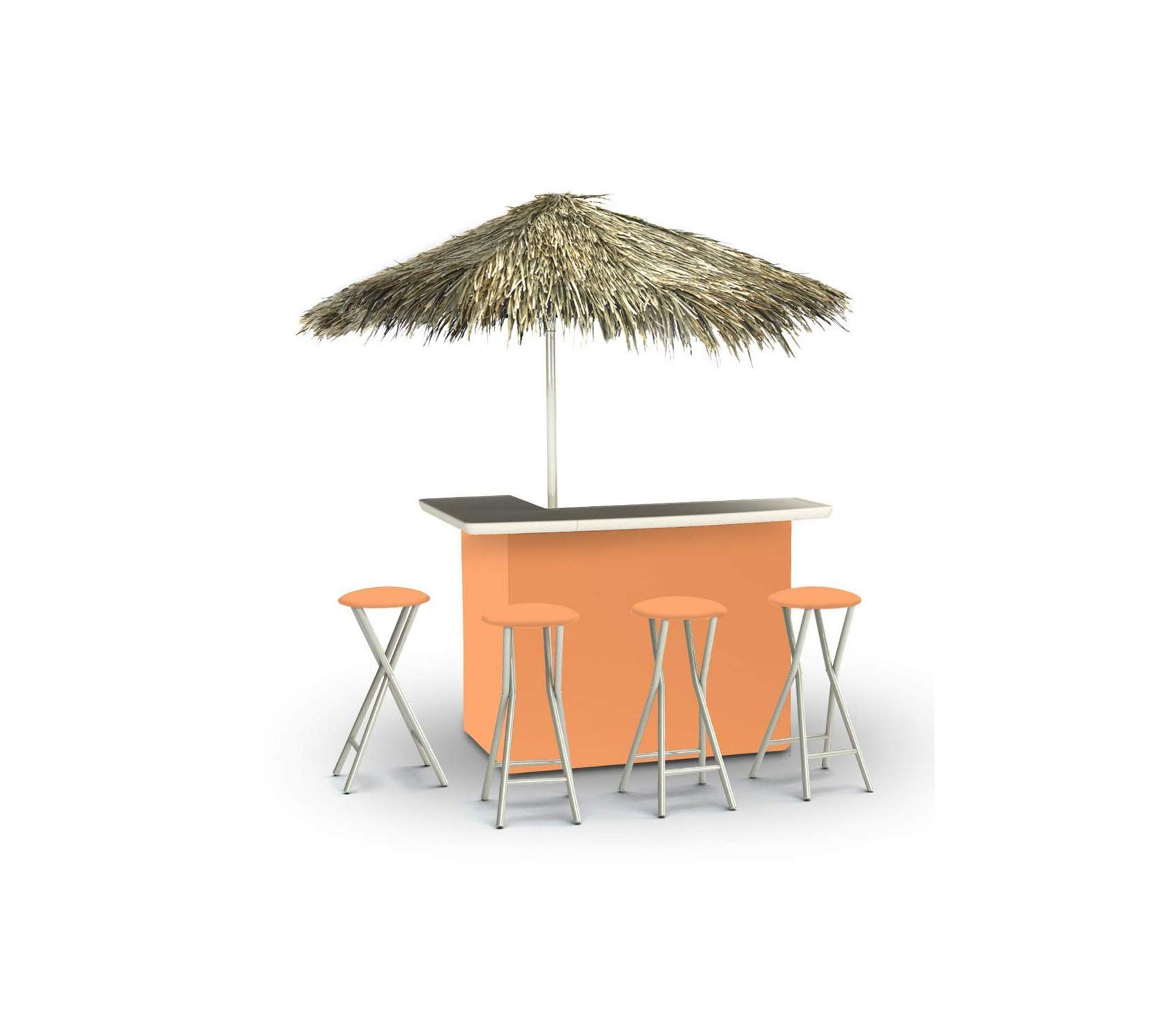 Wood & Style Patio Outdoor Garden Premium Best of Times Portable Deluxe Bar, Solid Peach - Palapa