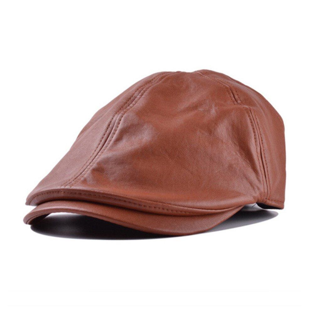 JESPER Mens Women Vintage Leather Beret Cap Peaked Hat Newsboy Sunscreen Brown